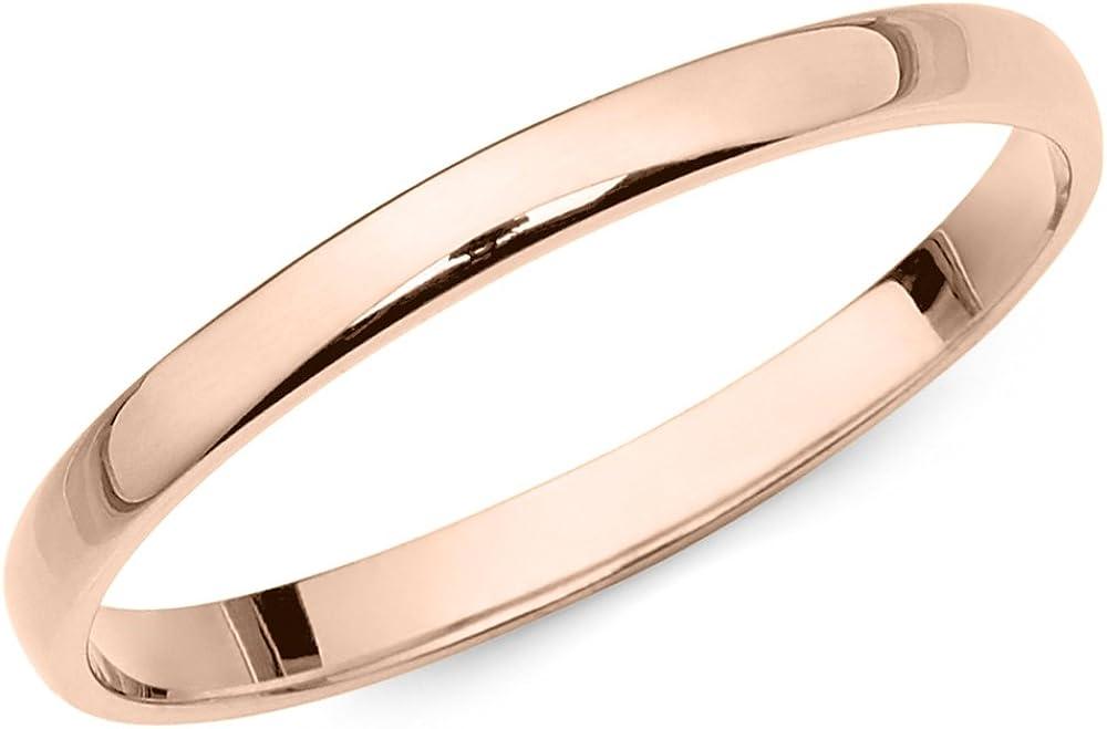 14k Rose Gold 2mm Light Comfort Fit Plain Wedding Band
