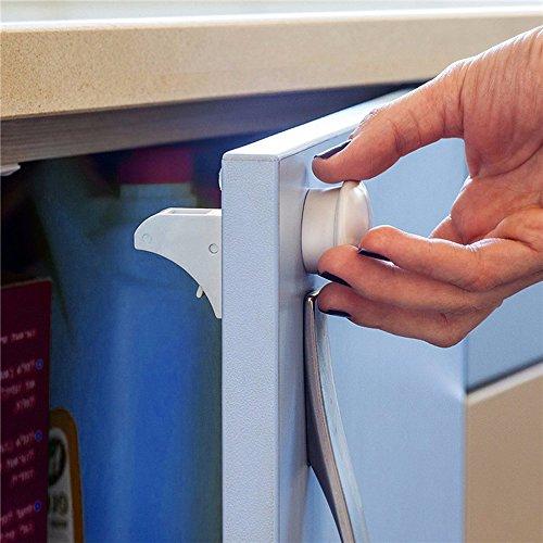 Child Cabinet Locks, HUIRUI Baby Safety Magnetic Locks, Strong 3M Tape Installation & Automatic Locked & Unlocked, with 8 Locks + 3 Keys