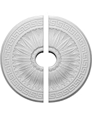 "Ekena Millwork CM20HA2-03500 20""OD x 3 1/2""ID x 1 3/8""P Randee Ceiling Medallion, Fits Canopies up to 3-7/8"", 2 Piece"