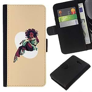 KLONGSHOP // Tirón de la caja Cartera de cuero con ranuras para tarjetas - Afro Chica - Sony Xperia M2 //