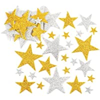 Baker Ross Gold and Silver Glitter Star Foam Stickers (Pack of 150) Self Adhesive Scrapbook Stickers
