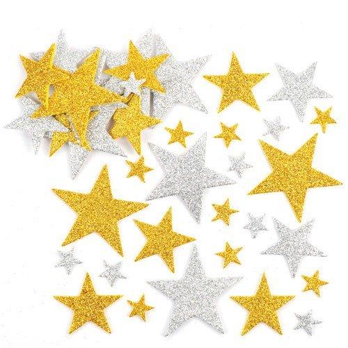 Baker Ross Pegatinas de Estrellas con Purpurina en Color Dorado y Plateado, Perfectas para Decoraciones y Manualidades Infantiles (Pack de 150).