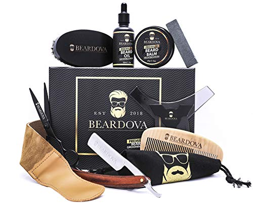 Beard Grooming Kit for Men 10 in 1 - Best Beard Kit Includes Brush, Oil, Comb, Balm, Straight Razor, Sharpening Strop, Shaping Tool, Beard & Mustache Scissors & Cotton Bag for Beard Care