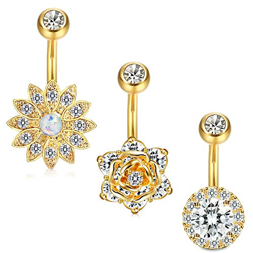 (Jstyle 3 Pcs 14G Stainless Steel Belly Button Rings Barbell Navel Rings Bar for Women CZ Flower Body Piercing (C:3Pcs Gold-Tone))