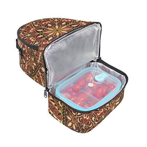 con Bolso estilo geométrico rojo color estilo ajustable tribal para almuerzo bandolera de correa orientales doble flores picnic vintage ft0rwFqptn