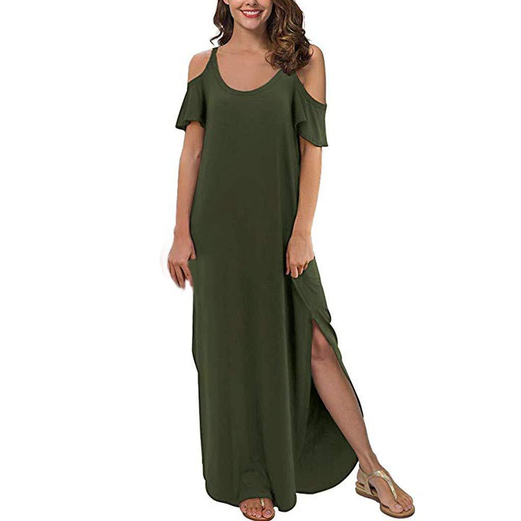 〓COOlCCI〓Women's Summer Casual Loose Long Dress Strapless Strap Cold Shoulder Short Sleeve Split Maxi Dresses Sundress Green by COOlCCI_Womens Clothing