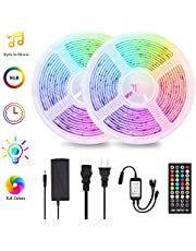 LED Light Strip Music Sync 2x5m(Total 32.8ft) RGB Strip Lights with Remote Controller Color Changing 5050SMD Rope Light Kit