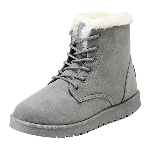 Women Boots Winter Warm Lined - Snow Boots Warm Shoes Lace-Up Flat Winter Fur Lined Outdoor Combat Casual Ankle Boots Highdas Gray R2AZ72