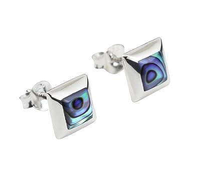 391c1d885 Abalone Paua Shell & 925 Sterling Silver Studs Earrings: Amazon.co.uk:  Jewellery