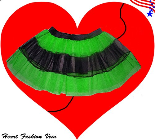 Green Black V Stripe Fun Tutu Skirt Halloween Fairy (Barbie Doll Halloween Costumes Adults)