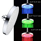 cool shower heads High Pressure Shower Head LED Wall Mount Rainfall Chrome Changes Automatically According to Water Temperature LED Adjustable Swivel Ball Joint the Best Relaxation and Spa