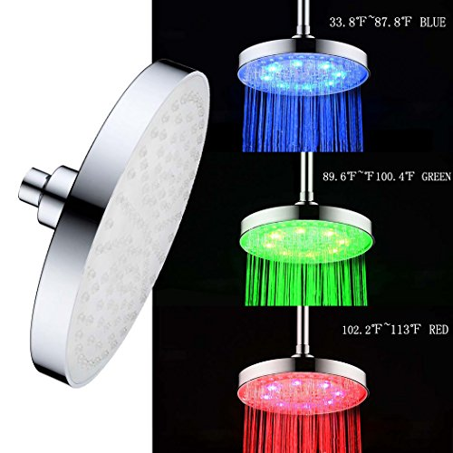 High Pressure Shower Head LED Wall Mount Rainfall Chrome Changes Automatically According to Water Temperature LED Adjustable Swivel Ball Joint the Best Relaxation and (Water Temperature Sensor Attachment)