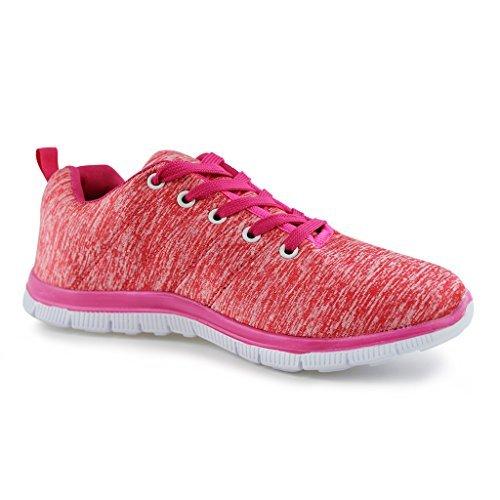 Hawkwell Damen Fitness Sportschuhe Schnürschuhe Sneakers Sport Turnschuhe Korallen