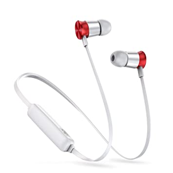 Neckband Wireless Bluetooth Headphone Earphone Sports Headset Stereo Earbuds Earpiece,Silver and Red