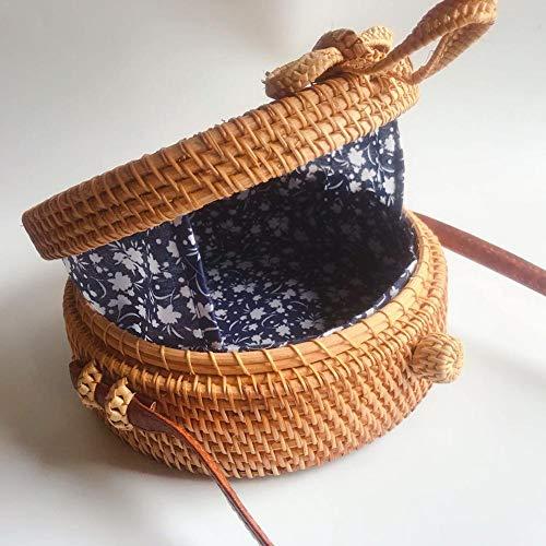 shoulder Lace Bag Bag Women Style Woven Bag Shoulder Straw Bag Handbag Beach Casual Handbags Bag Vintage Women's woven Hand For Girls Woven Rattan Round Bag Bag Birthday Ethnic Ladies Gif Beach Single ZRRqdwU