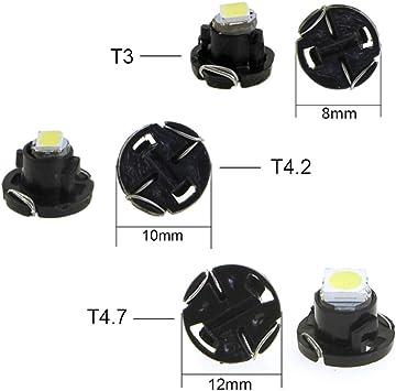 ETbotu Lampade LED per Cruscott 10Pcs T4.2 12V LED Lampadina Strumento Auto Cruscotto Meter Luci di Pannello Lampade T4.2 Blue