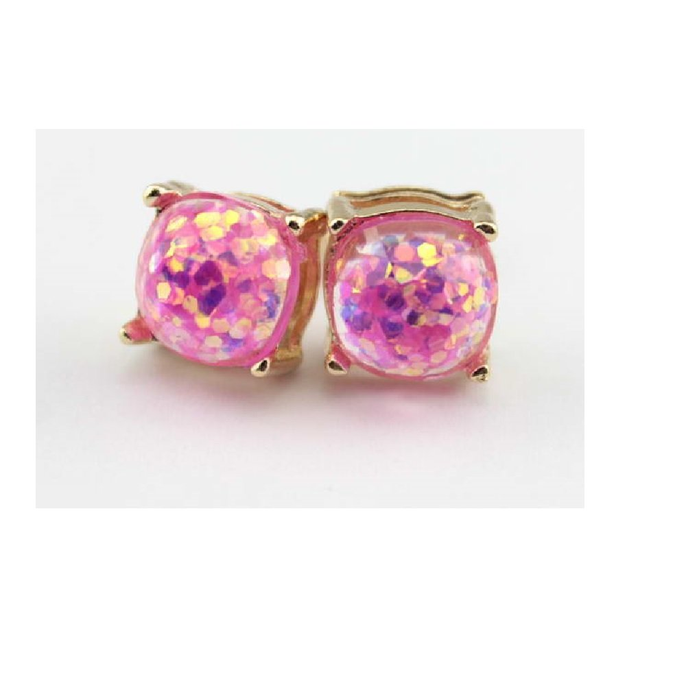 Ivy & Clover Preppy Collection Post Stud Style Earrings (Goldtone Square Confetti Stud with Light Pink Glitter)