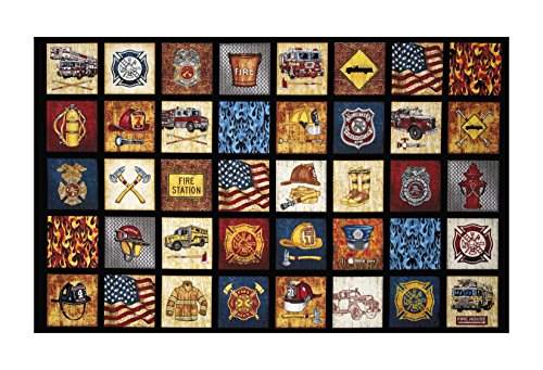 - Fabric & Fabric 0541772 QT Fabrics Treasures 5 Alarm Everything Firefighter 24in Panel Black,