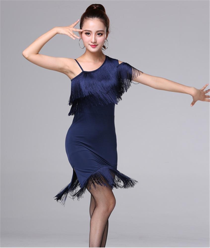 Bleu peiwen Flux de Femme Sula Ding Robe de Danse Couleur Unie Robe Moulante Pratique de la Danse S
