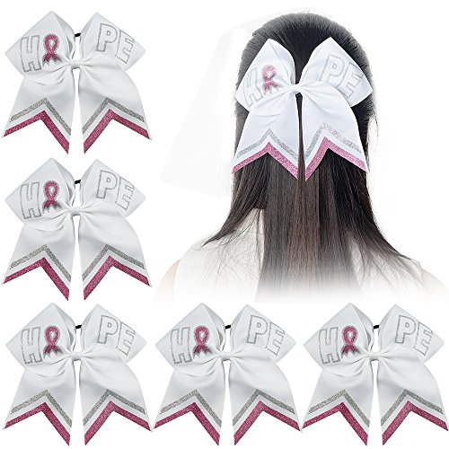 Ncmama Baby Breast Cancer Pink Silver Glitter Cheer Bow Hair Tie Holder for Girls Hope 5pcs -