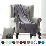 Flannel Fleece Luxury Blanket Grey Throw Lightweight Cozy Plush Microfiber Solid Blanket by Bedsure