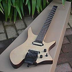 FidgetFidget New Fanned Fret Headless Electric Guitar With Mahogany Body In Natural A Bridge