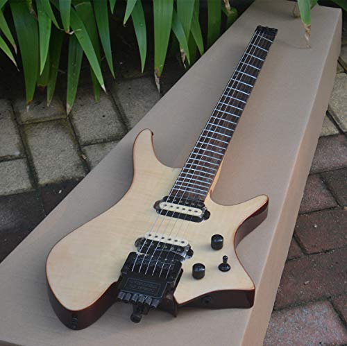 FidgetFidget New Fanned Fret Headless Electric Guitar With Mahogany Body In Natural A ()