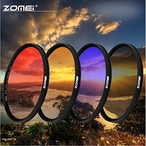 Flycoo ZOMEI Professionnel Ultra Mince 4.69mm Filtre de Couleur Gradu/és Circulaire D/égrad/é 62mm Gris