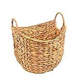 Haneye Seagrass Storage Basket, Hand Woven Large Laundry Basket Braided Handles, Water Hyacinth Basket