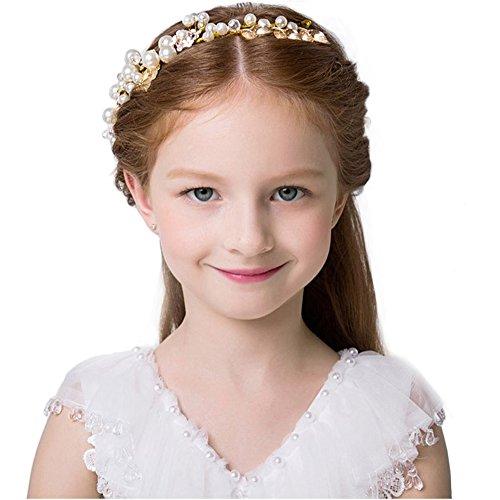 Elezay Women's Girls' Flower Crown Headband Garland Hair Accessories Festival Wedding (Gold-10.2x1.2 Inches) -