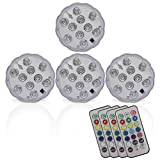 Durawell RGB Color Changing LED Lights, 13 Colors 2 Modes Battery Powered Submersible Lights with Remote and Timer (4 Pack)