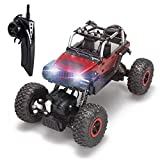 RC Cars Off-Road Vehicles Rock Crawler Monster Trucks 4WD RC Trucks 1:18 2.4GHz RC Hobby Cars Racing Cars with LED Light for Kids- Red