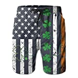 confirm vt Men's Beach Shorts Swim Trunks Heartbeat Clover Irish ST. Patrick's Day Board Shorts with Pockets