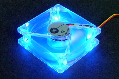 Xpex DC 12V 3Pin/4Pin Blue LED Computer Case Fan Clear 80x80x25mm (80x80x25mm Low Noise Ball Bearing)