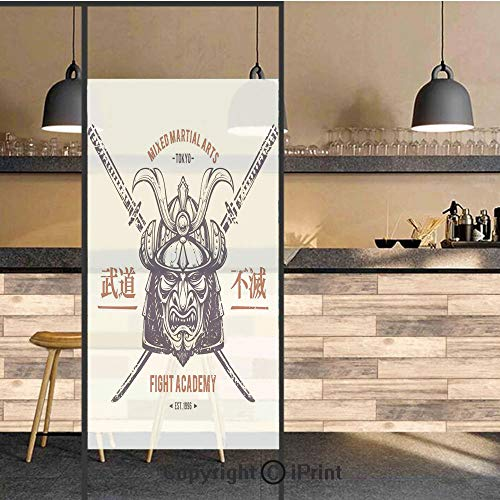 3D Decorative Privacy Window Films,Distressed Rustic Featured Graphic Work of Top Heavy Samurai Mask Facial Armor Mempo,No-Glue Self Static Cling Glass film for Home Bedroom Bathroom Kitchen Office 17 ()