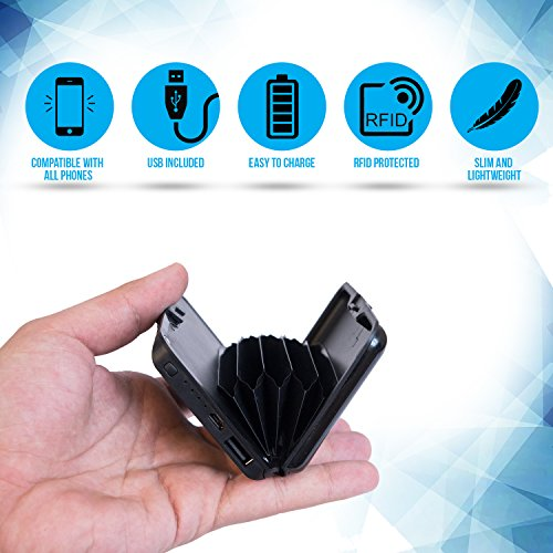 Portable Wallet (RFID Blocking and Phone Charging Wallet - 2 In 1 Anti Rfid Credit Card Holder & Cellphone Battery Charger 5000mAh Power Wallet for Women and Men – Portable Phone Charger Power Bank)