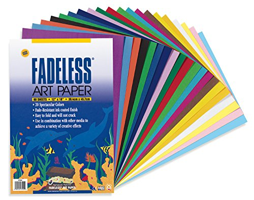 Fadeless Art Paper, 50 lb., 12 x 18 Inches, Multiple Colors, 60 ()