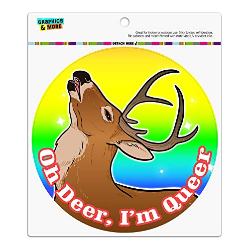 GRAPHICS & MORE Oh Deer I'm Queer Rainbow Pride Gay Lesbian Funny Automotive Car Refrigerator Locker Vinyl Circle ()