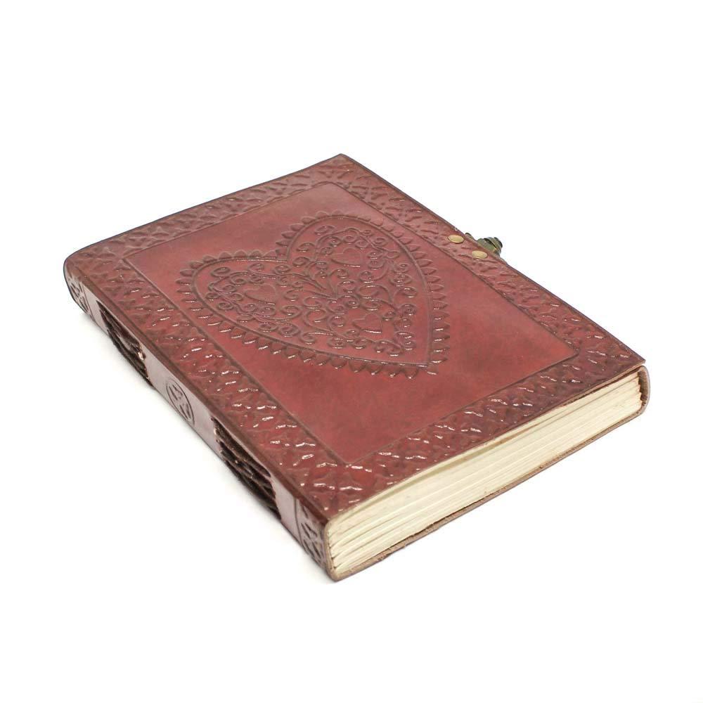 Carnet de Voyage Journal Intime avec en relief de Coeur - Carnet de Notes en Cuir Fait Main pour Filles - Papier Vierge,Vintage Marron A5 16 x 21 cm Creoly