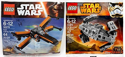 (LEGO Star Wars Poe's X-Wing Fighter & Lego Star Wars Tie Advanced Prototype Set First Order Polybag 30275 + 30278 Building Set)