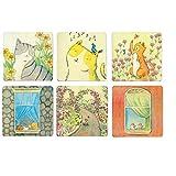 Cimostar Creative Wooden Coasters, Artistic Design ,Set of 6 (Lovely cat)