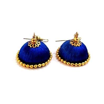 16165680d28a Buy Gemsjewellery Blue Jhumki Beautiful Silk Thread Casual Wear Jhumkas  Blue Trendy Earrings Jewellery For Women With Best Offer Free Shipping  Online at Low ...