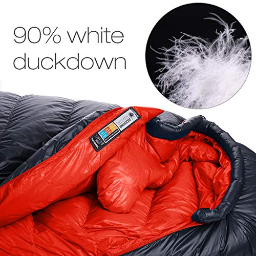 Naturehike Ultralight White-Duck-Down Degree 50/32 F Sleeping Bag for Backpacking, Most Compact Down Filled Lightweight Mummy Sleep Bag for Backpack 4 Season