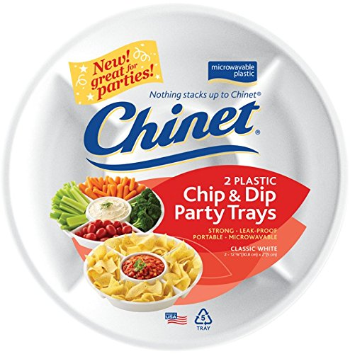 Chinet White Plastic Chip and Dip Party Trays - 2 ct - Chinet White Plastic Plate