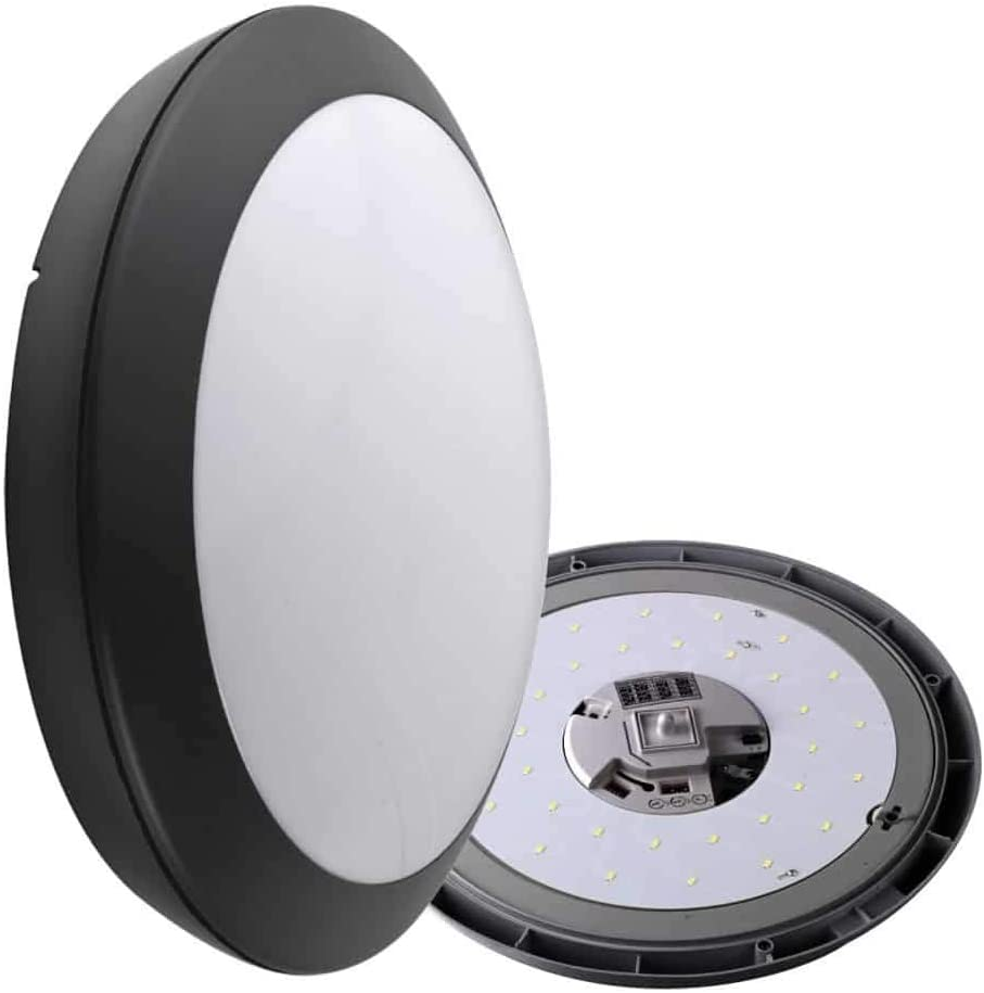 30000 h Hublot LED avec D/étecteur 120/° Angle Faisceau 20 W Noir 4000 K MACADAM 1800 lm