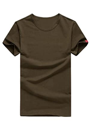 DOOXIUNDI Mens Casual Slim Fit Short Sleeve R-neck T-Shirt Of Various Colors (L, deep brown)