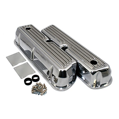 Assault Racing Products A6728-3 Small Block Ford Finned Polished Aluminum Tall Valve Covers Retro SBF 289 302 351W 5.0