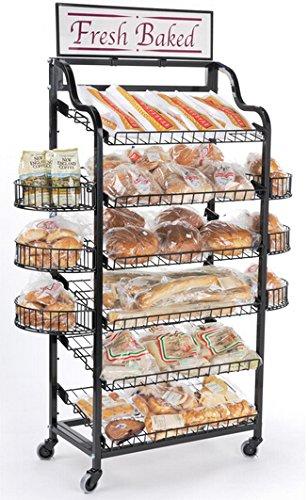 """Fixture pantallas 47 """"W pantalla panadería rack w/ruedas, 6 estantes,"""