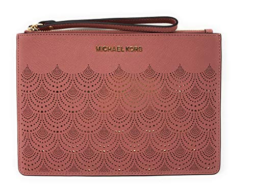 (Michael Kors Jet Set Travel XL Large Lace Zip Clutch Leather Wristlet Purse in Rose)
