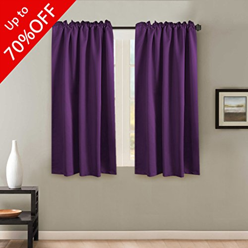 Blackout Thermal Insulated Curtains Panels, Back Tab / Rod Pocket Window Draperies - 2 Panels Set - 52x63 Inch - Solid Plum Purple